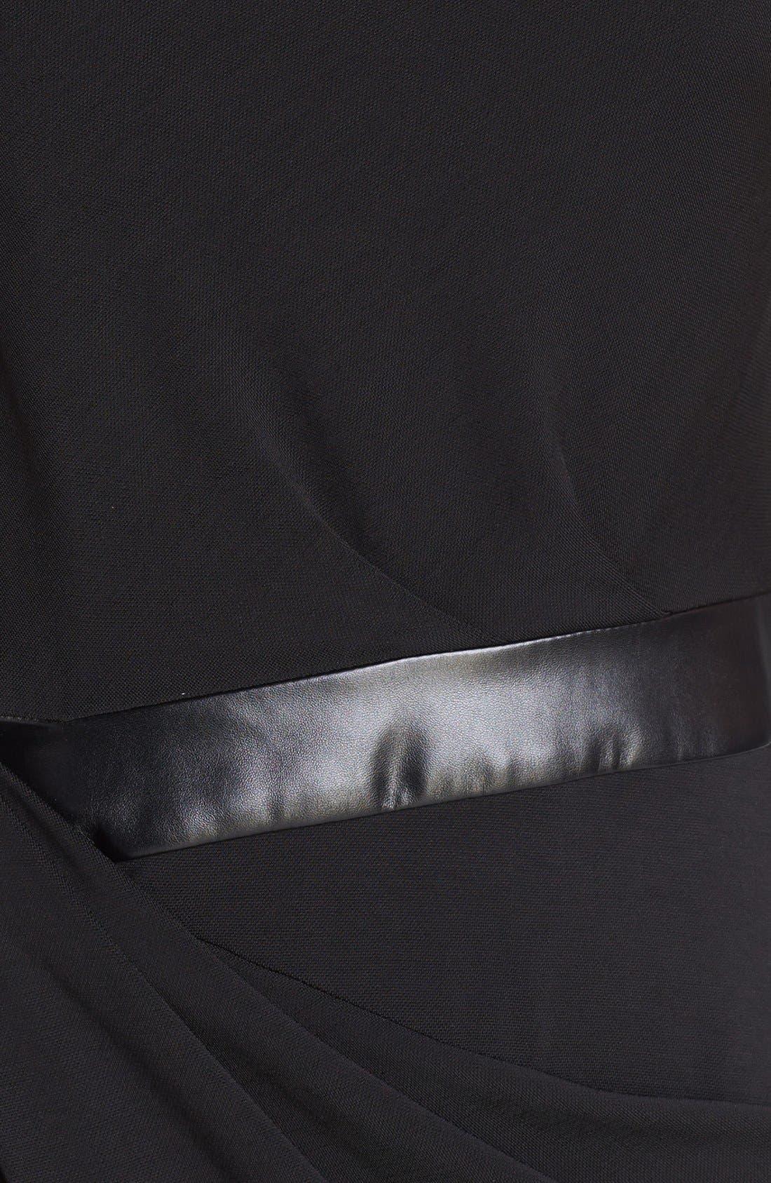 Alternate Image 3  - Vera Wang Faux Leather Inset Drape Jersey Dress