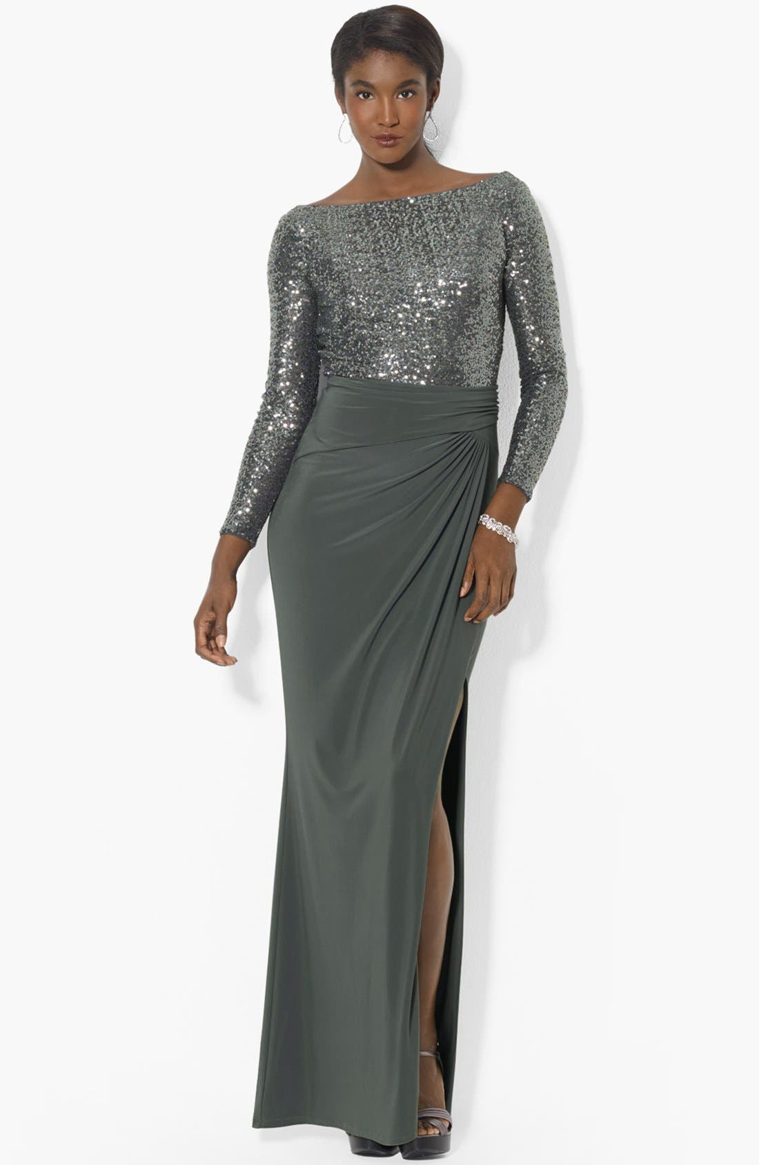 Alternate Image 1 Selected - Lauren Ralph Lauren Embellished Bodice Jersey Gown (Regular & Petite)