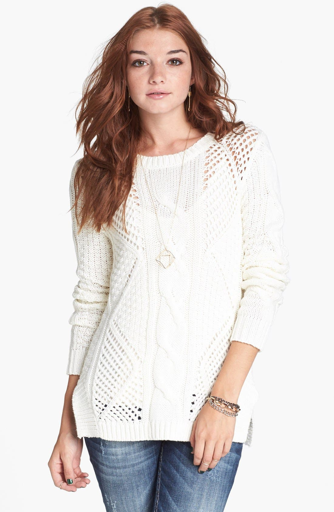 Alternate Image 1 Selected - Rubbish® 'Drama' Open Knit Cabled Sweater (Juniors)