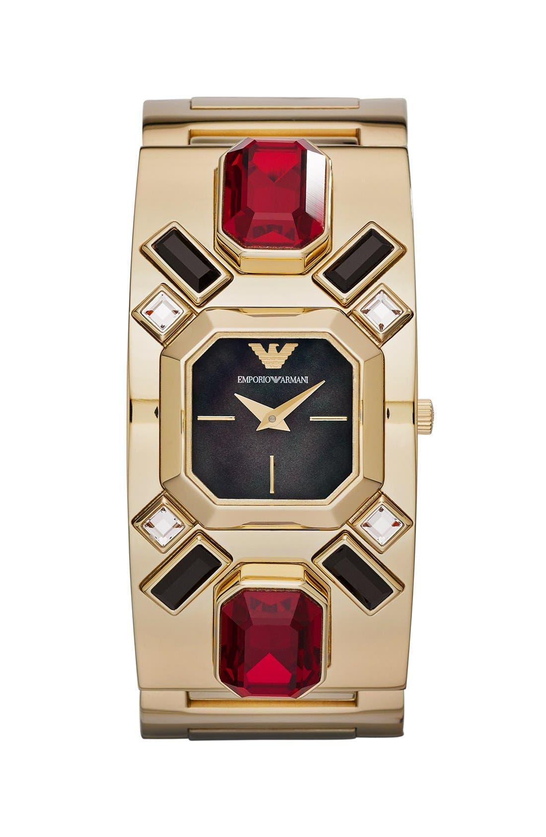 Alternate Image 1 Selected - Emporio Armani Stone Embellished Bangle Watch, 22mm