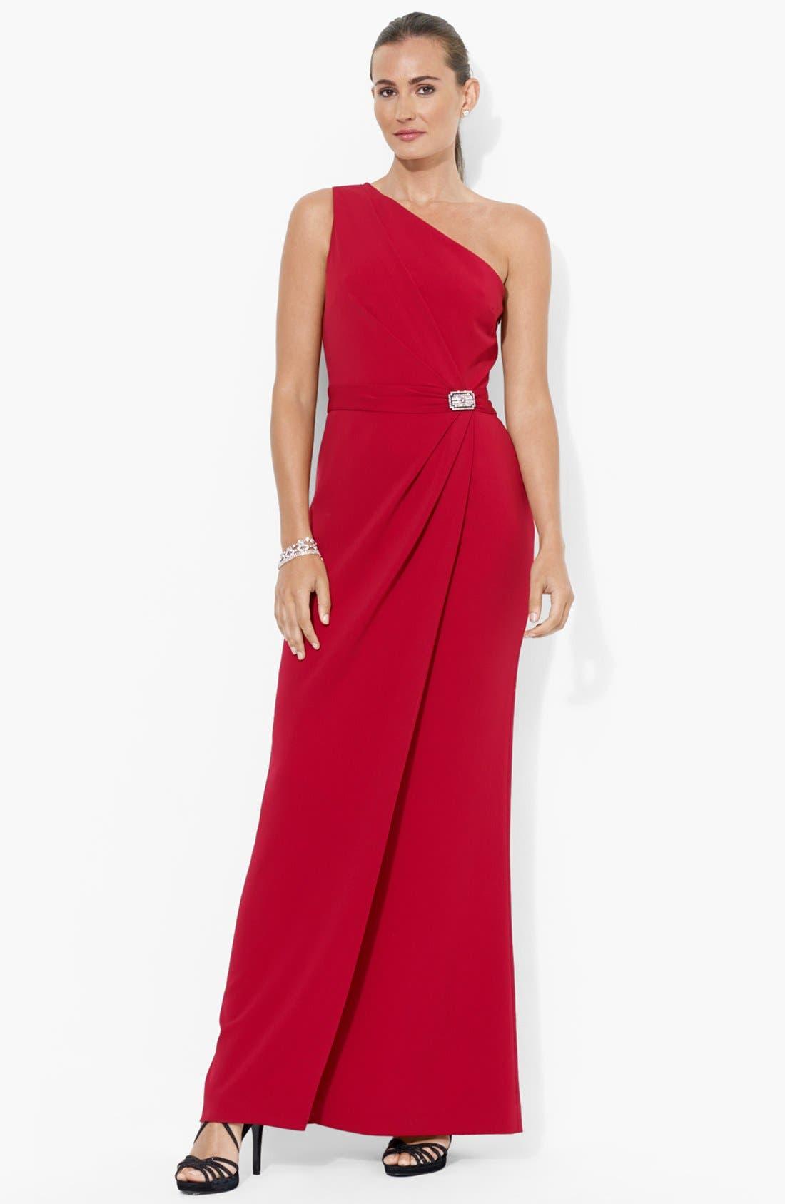 Main Image - Lauren Ralph Lauren Embellished One-Shoulder Gown