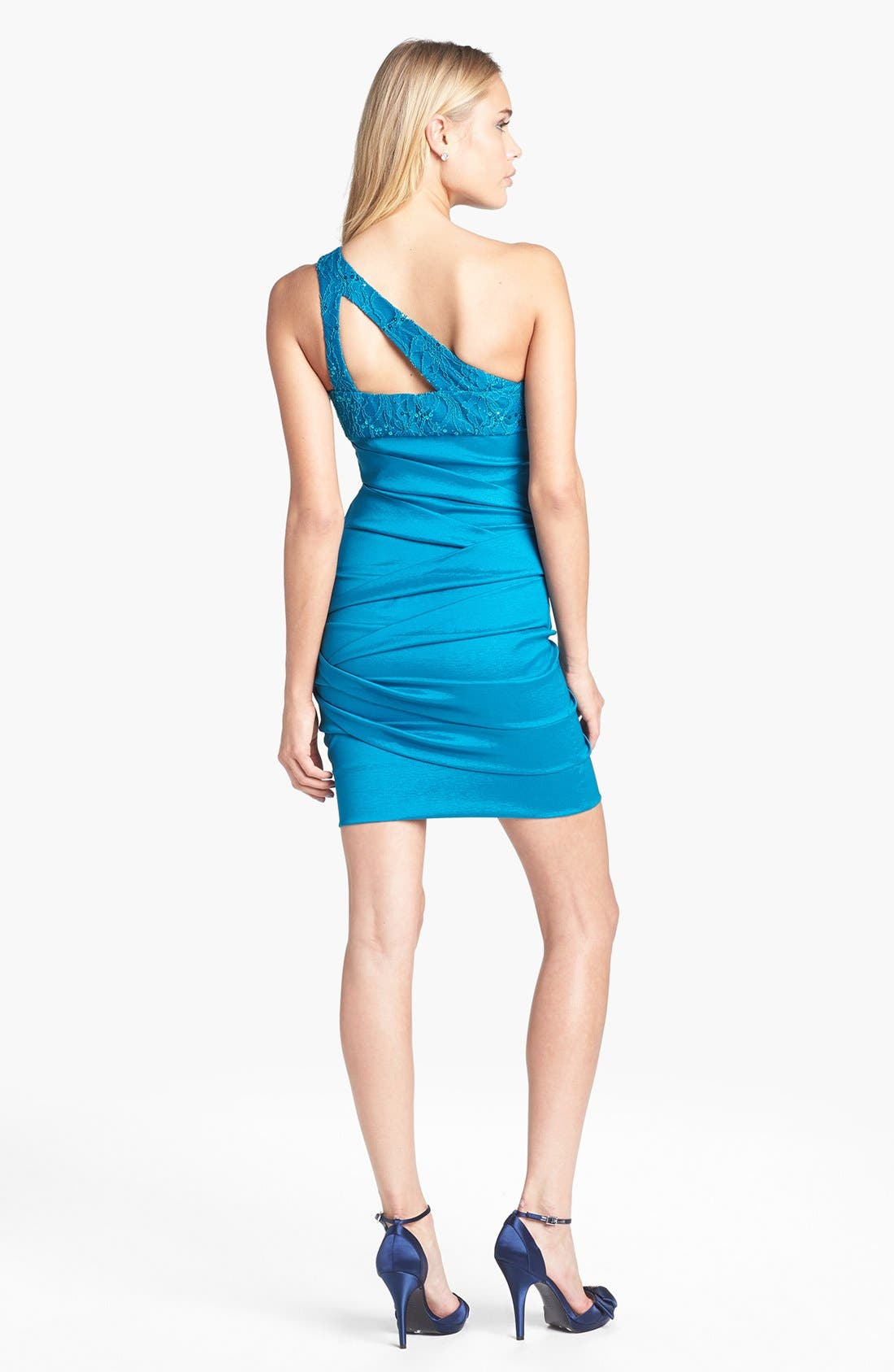 Alternate Image 2  - Hailey Logan Cutout One-Shoulder Body-Con Dress (Juniors) (Online Exclusive)