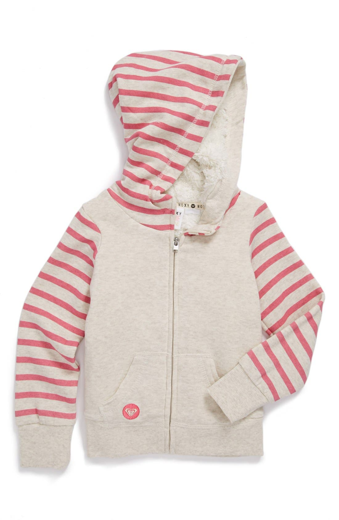 Main Image - Roxy 'Wild Awake' Full Zip Lined Hoodie (Little Girls)