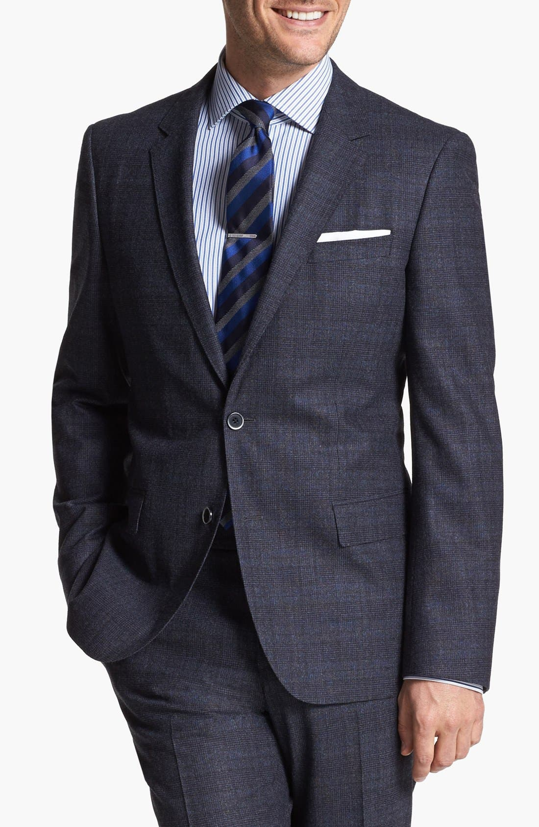 Alternate Image 4  - BOSS HUGO BOSS 'Hedge/Gense' Trim Fit Plaid Suit