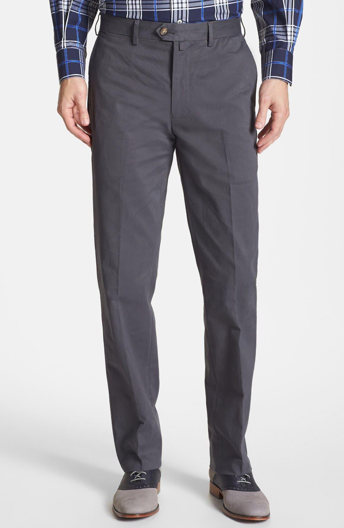 Main Image - Façonnable 'Savon' Flat Front Cotton Pants