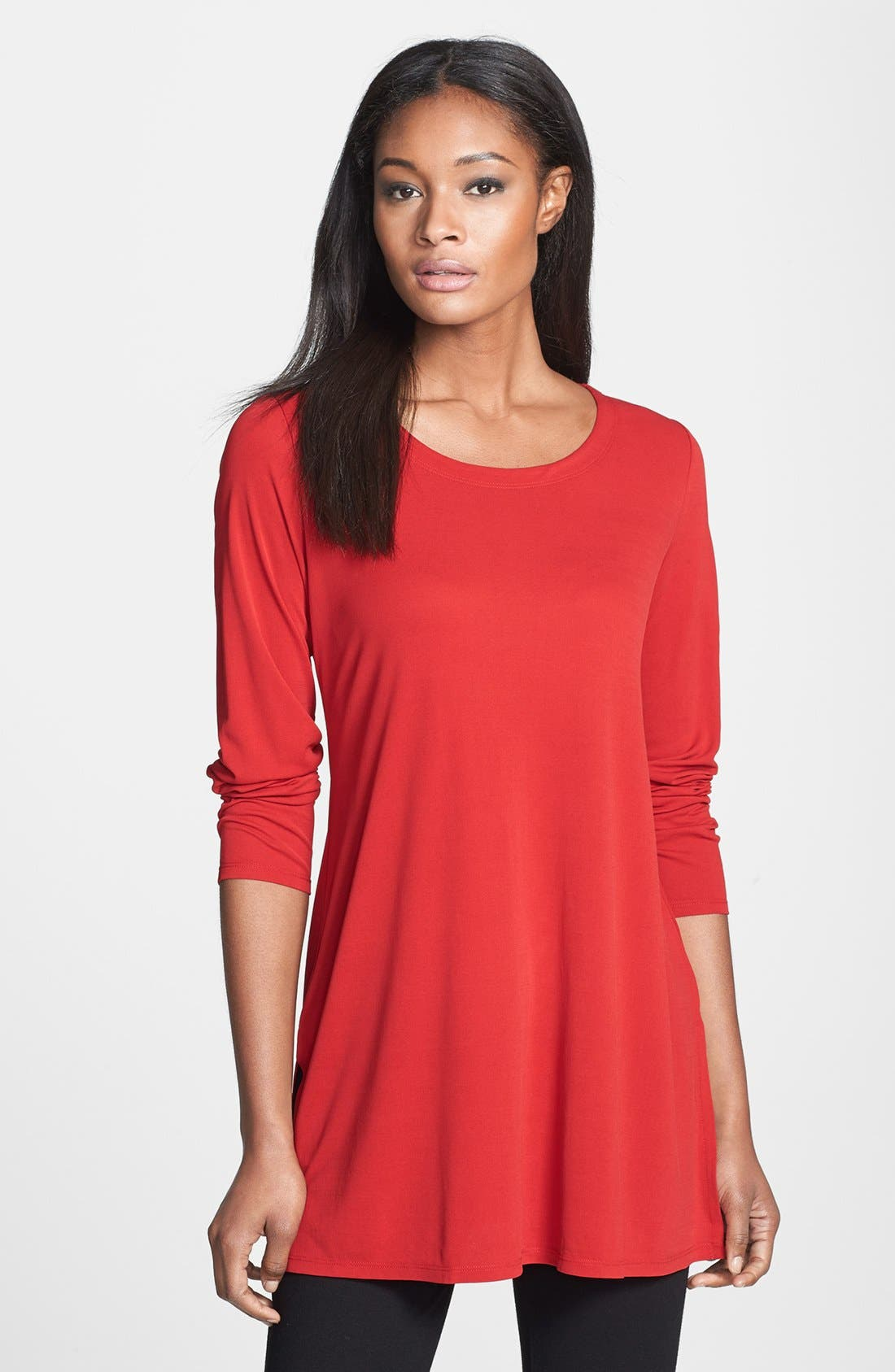 Alternate Image 1 Selected - Eileen Fisher Scoop Neck Silk Tunic (Online Exclusive)
