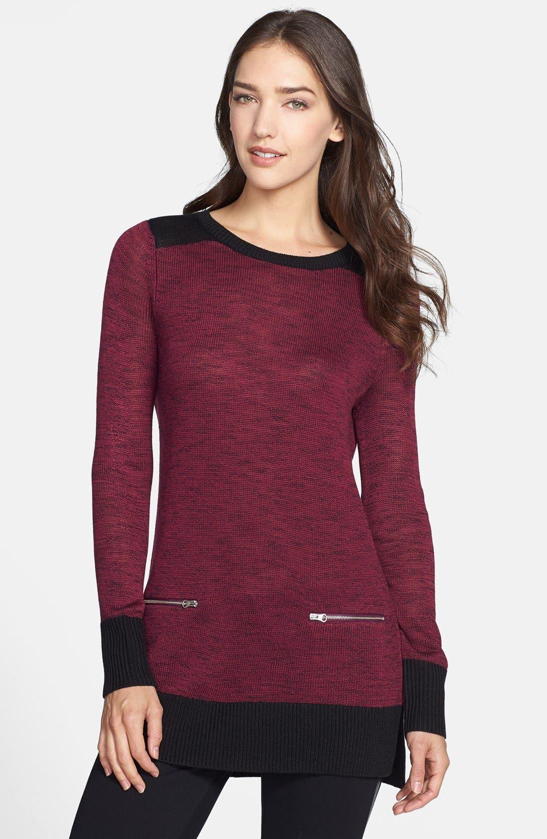 Main Image - Halogen® Zip Pocket Tunic Sweater (Regular & Petite Focus)