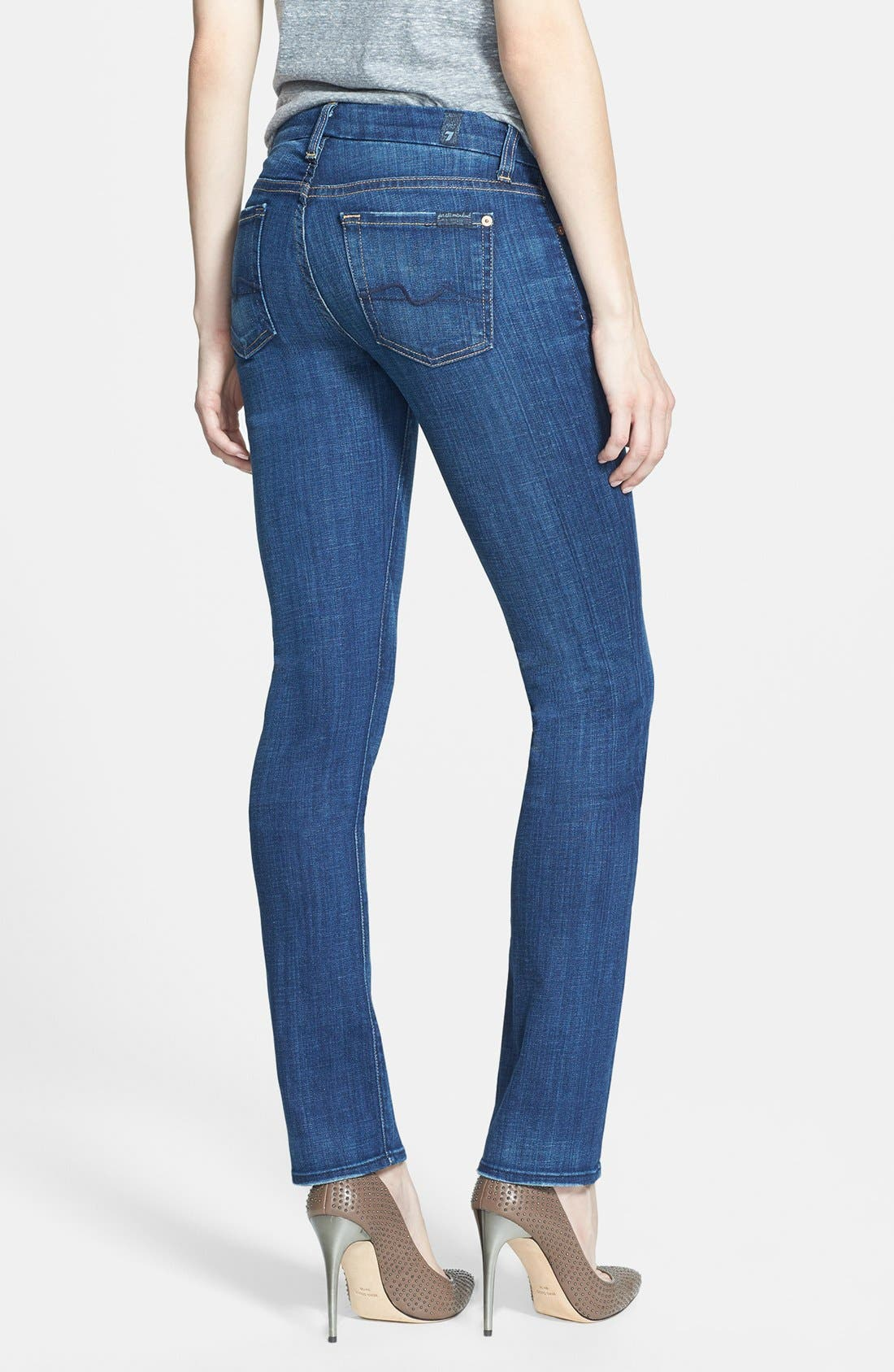 Alternate Image 2  - 7 For All Mankind® 'Kimmie' Straight Leg Jeans (Warm Medium Blue)