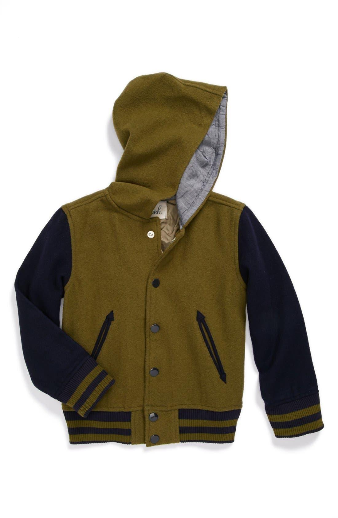 Main Image - Peek Hooded Varsity Jacket (Toddler Boys, Little Boys & Big Boys)