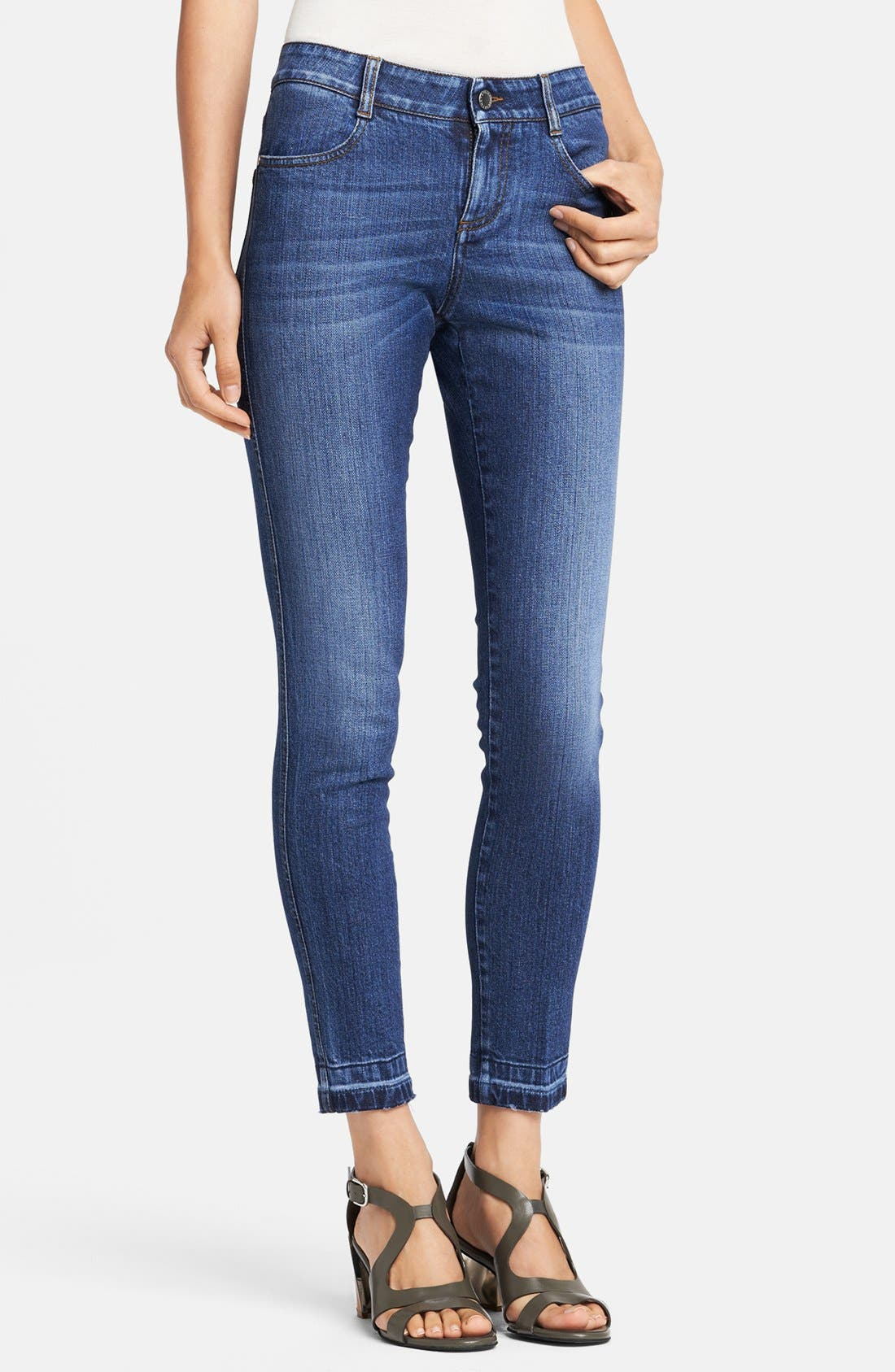 Alternate Image 1 Selected - Stella McCartney 'Simone' Ripped Hem Skinny Ankle Grazer Jeans