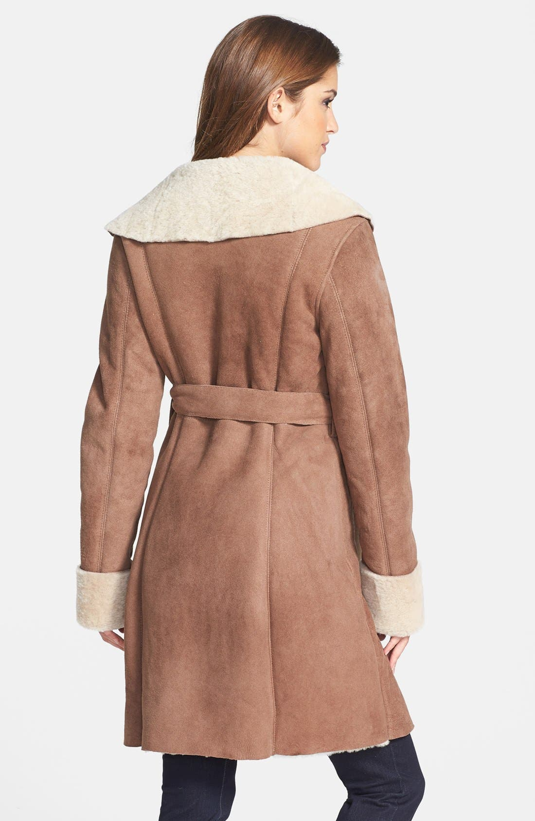 Alternate Image 2  - UGG® Australia 'Andeliane' Genuine Shearling Wrap Coat