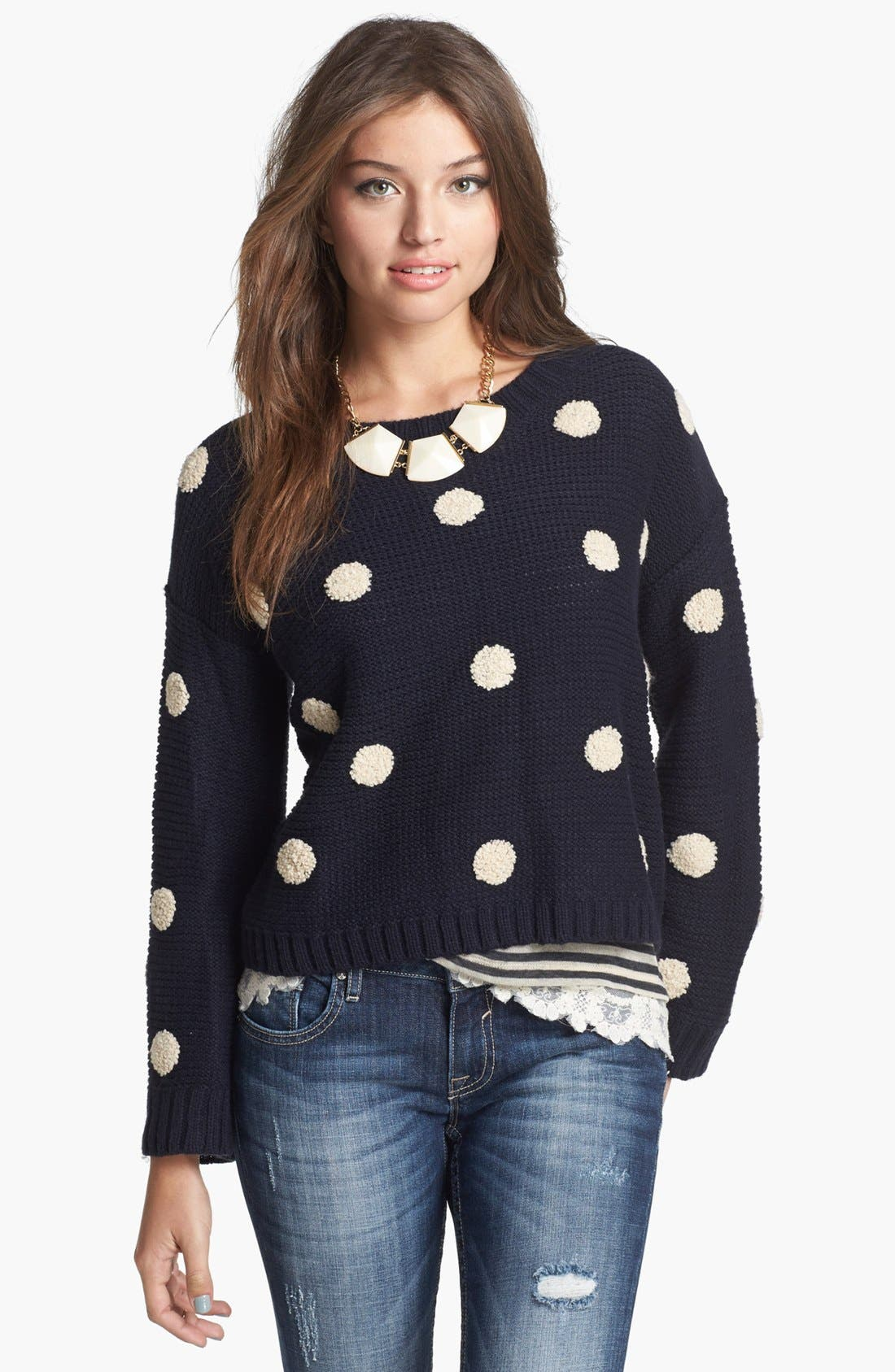 Main Image - Elodie Embroidered Dot Sweater (Juniors)
