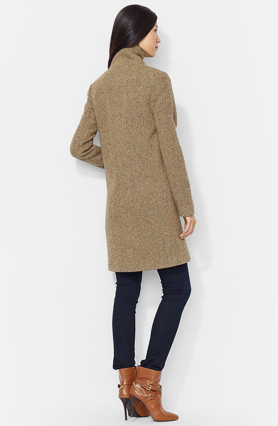 Alternate Image 2  - Lauren Ralph Lauren Buckle Tab Collar Wool Blend Coat (Online Only)