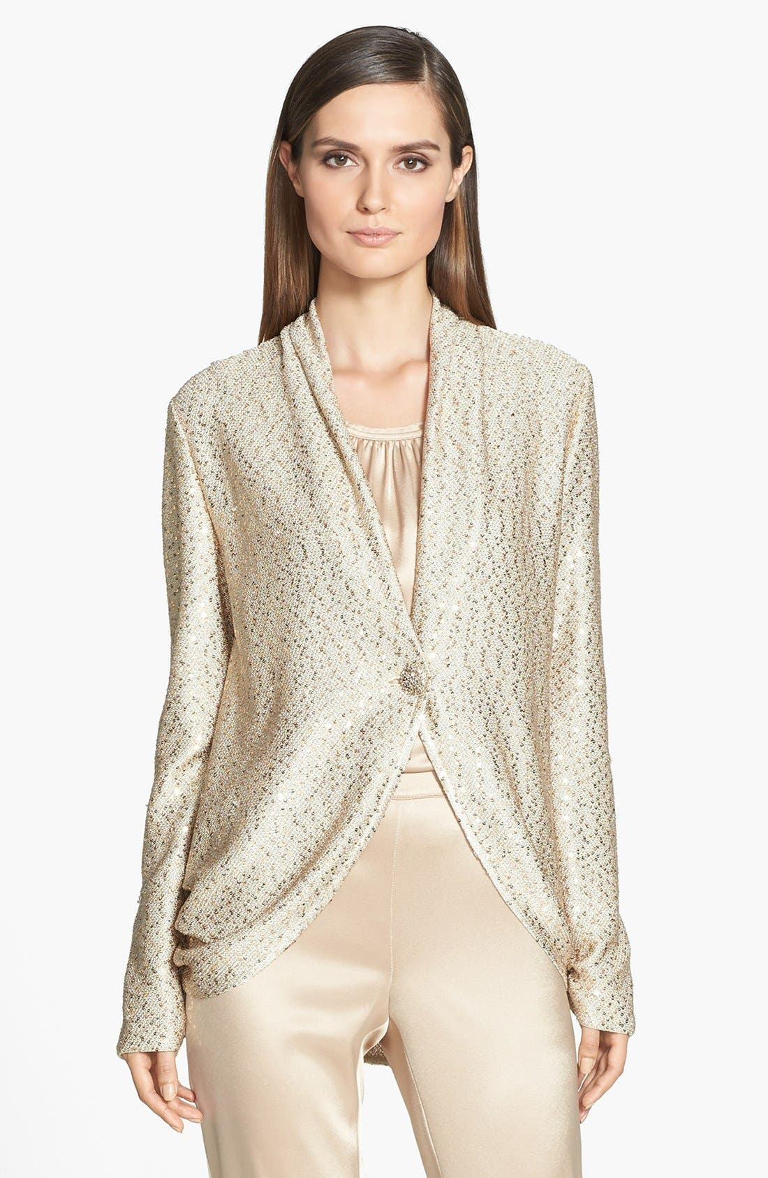 Main Image - St. John Collection Sequin Ruched Knit Cardigan