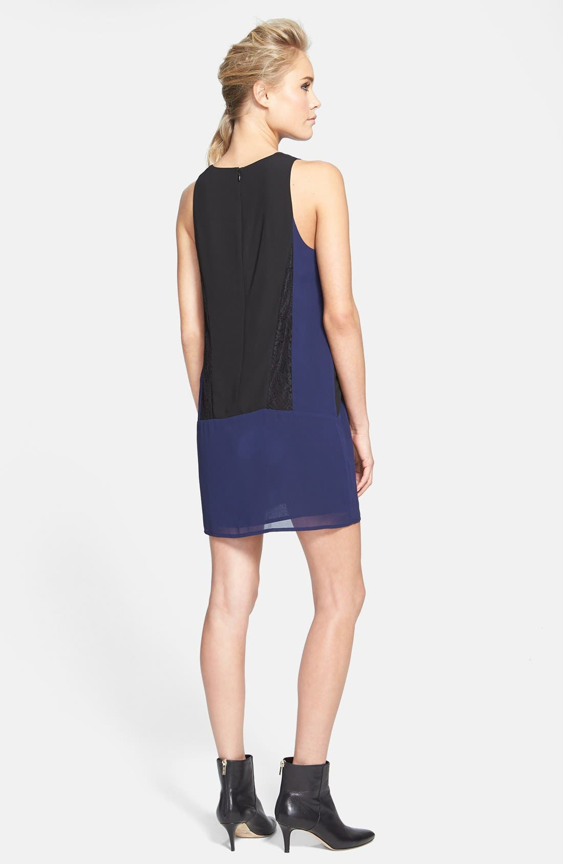Alternate Image 2  - ASTR Colorblock Lace & Chiffon Shift Dress