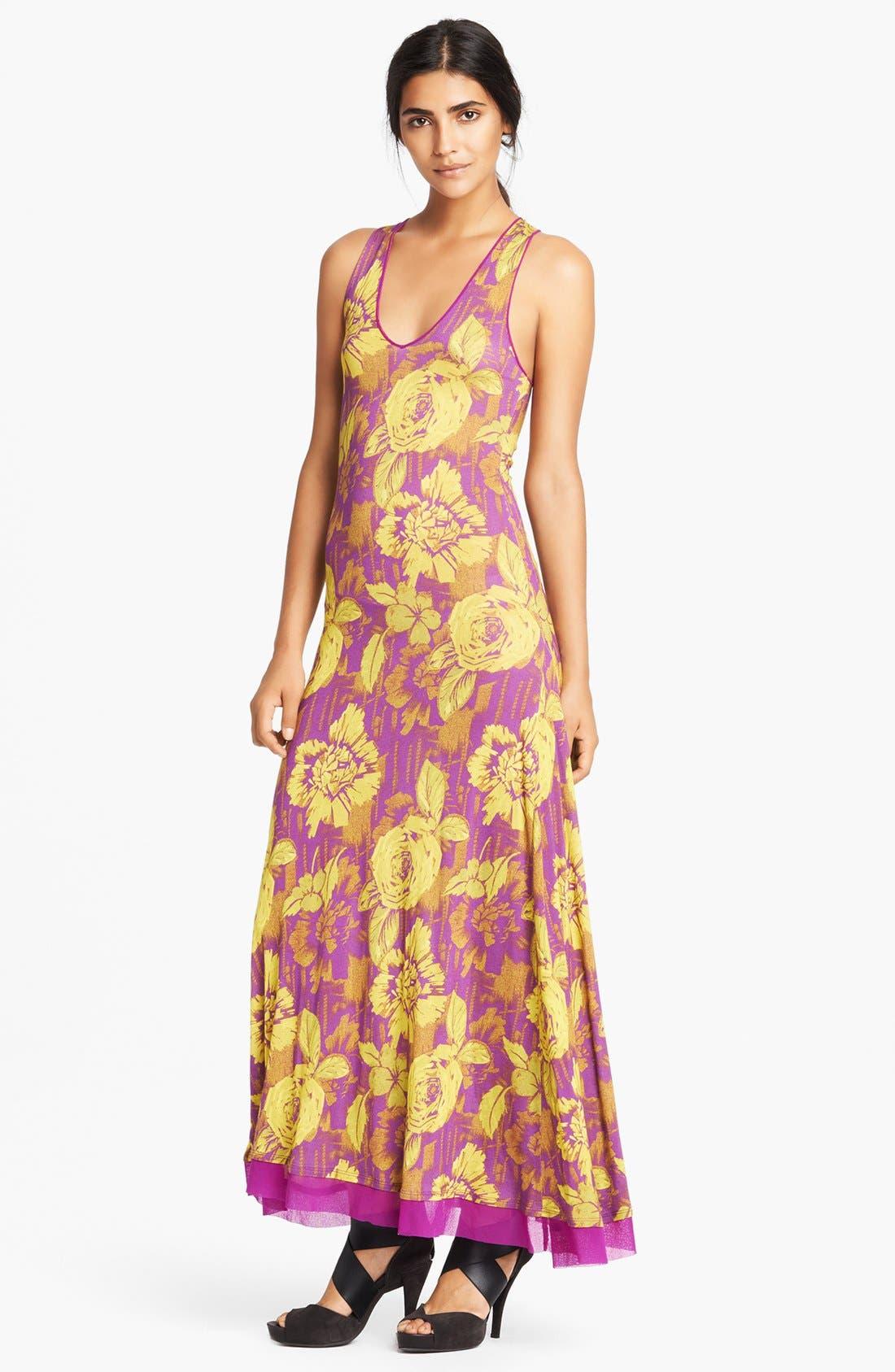 Main Image - Jean Paul Gaultier Rose Print Racerback Jersey Maxi Dress