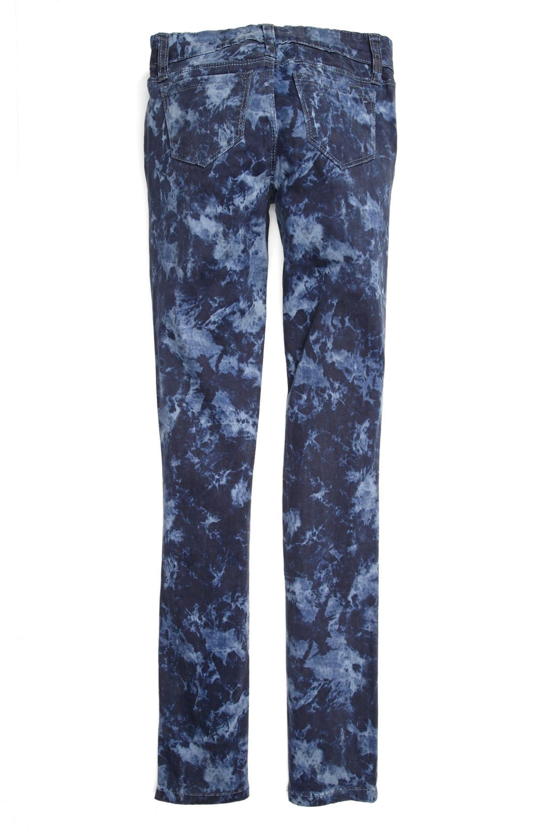 Alternate Image 1 Selected - Tractr Tie Dye Skinny Jeans (Big Girls)