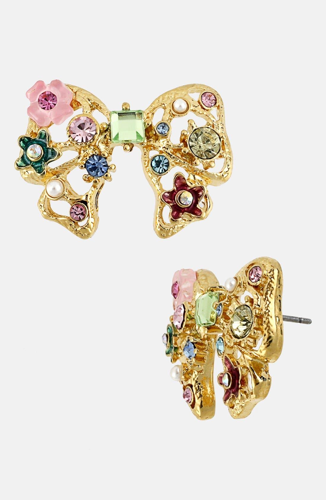 Alternate Image 1 Selected - Betsey Johnson 'Fairyland' Embellished Bow Stud Earrings