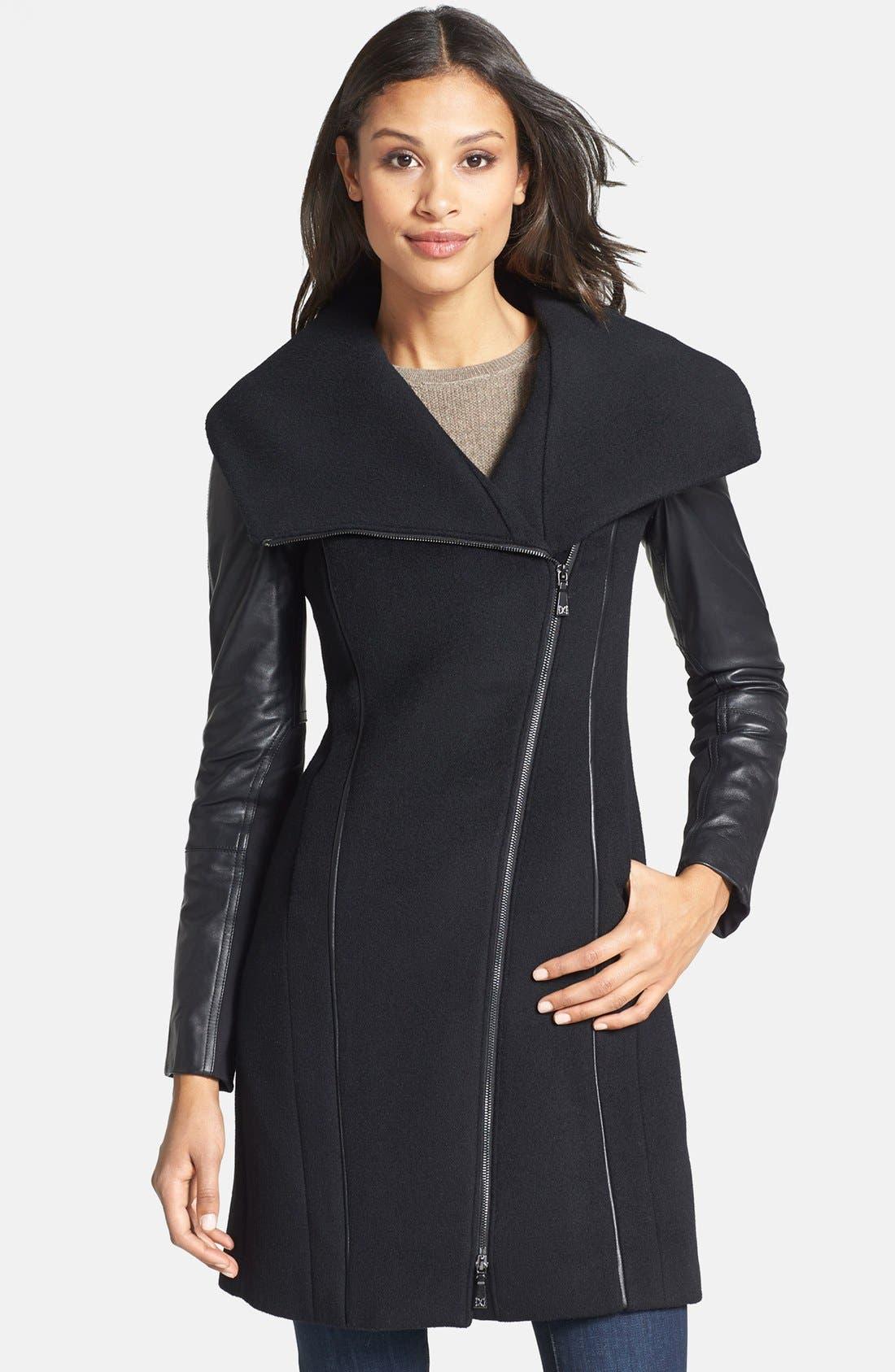 Main Image - Dawn Levy 'Serena' Leather Sleeve Asymmetrical Wool Coat