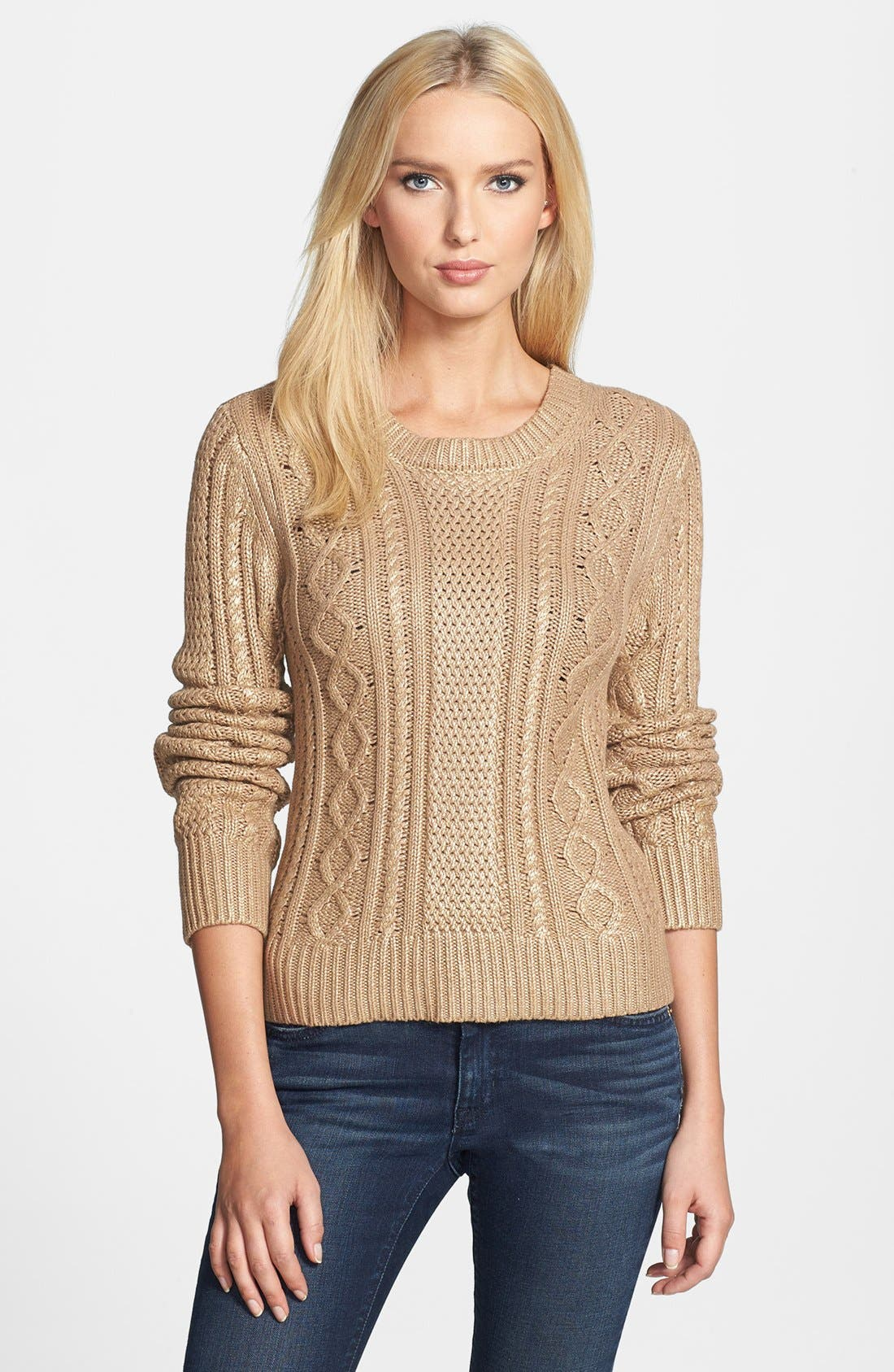Alternate Image 1 Selected - MICHAEL Michael Kors Foiled Cable Knit Cotton Blend Sweater