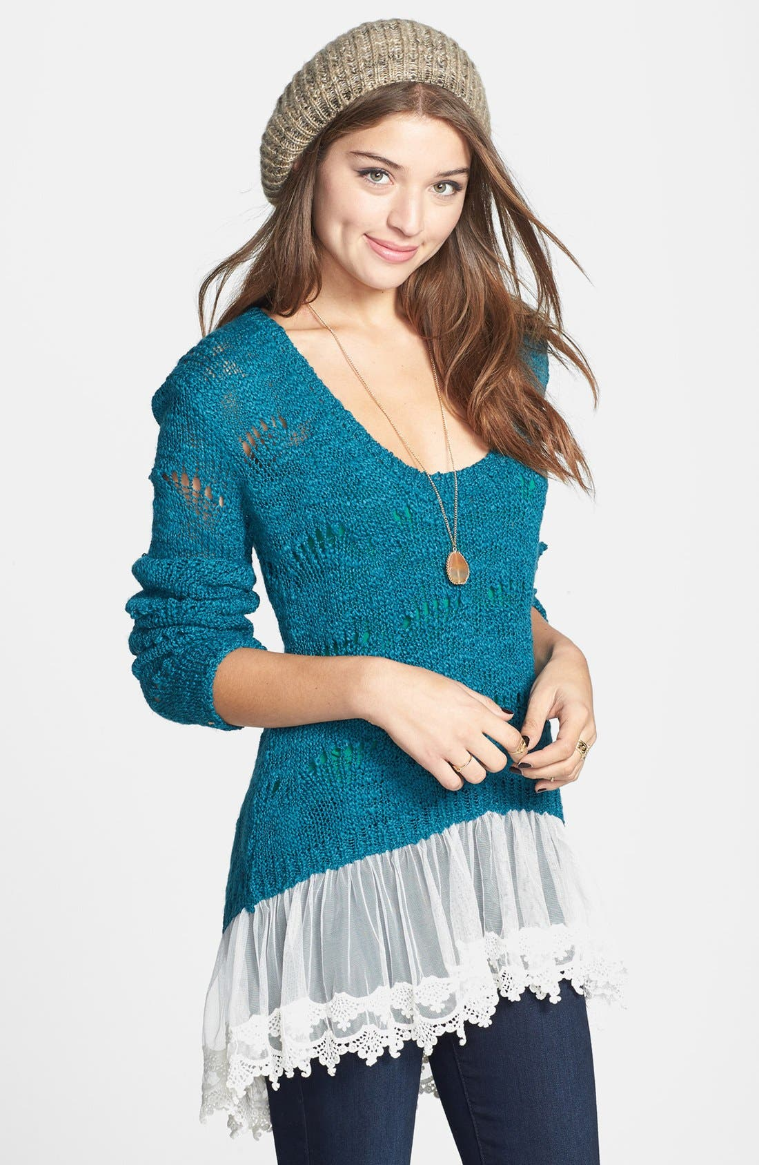Alternate Image 1 Selected - Cotton Emporium Scallop Stitch Lace Hem Sweater (Juniors)