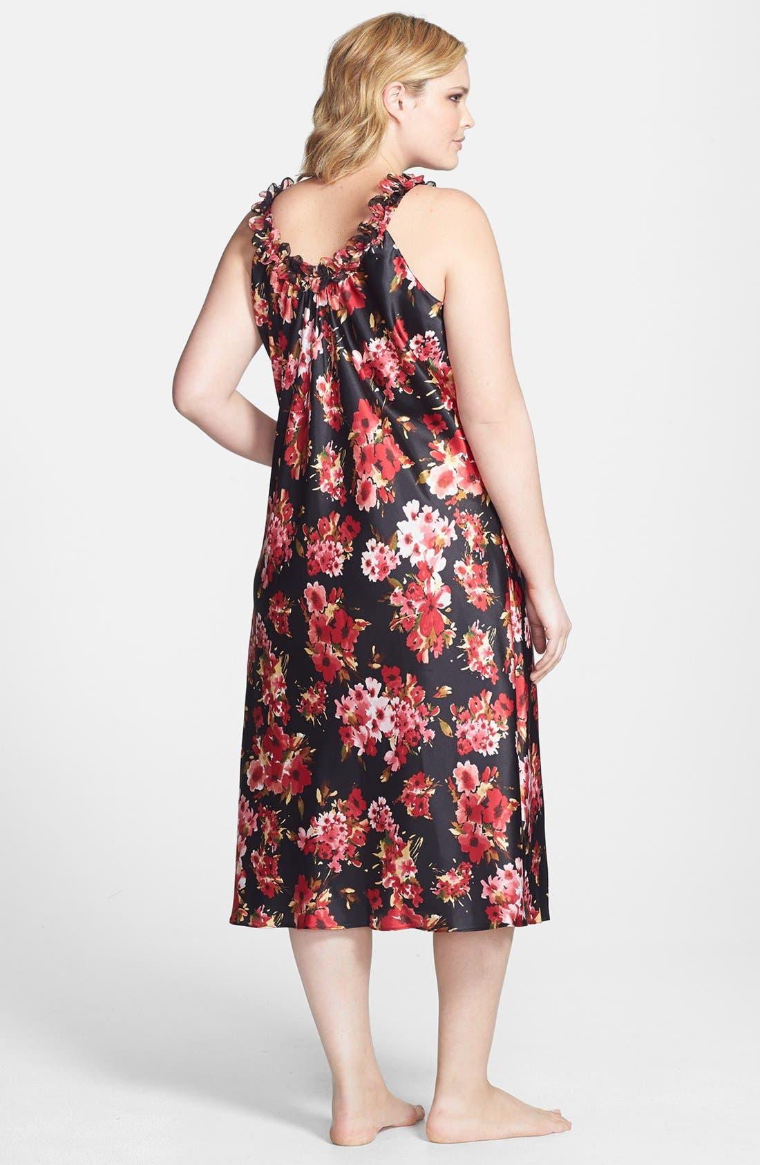 Alternate Image 2  - Oscar de la Renta Sleepwear 'Holiday Bouquet' Long Nightgown (Plus Size)