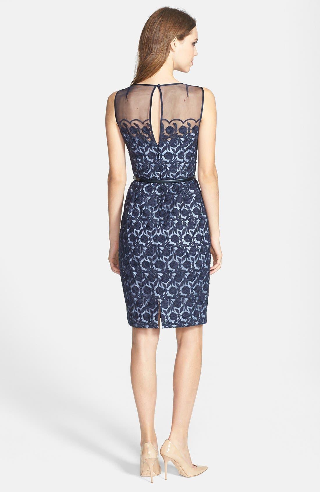 Alternate Image 2  - Maggy London Organza Belted Sheath Dress (Regular & Petite)