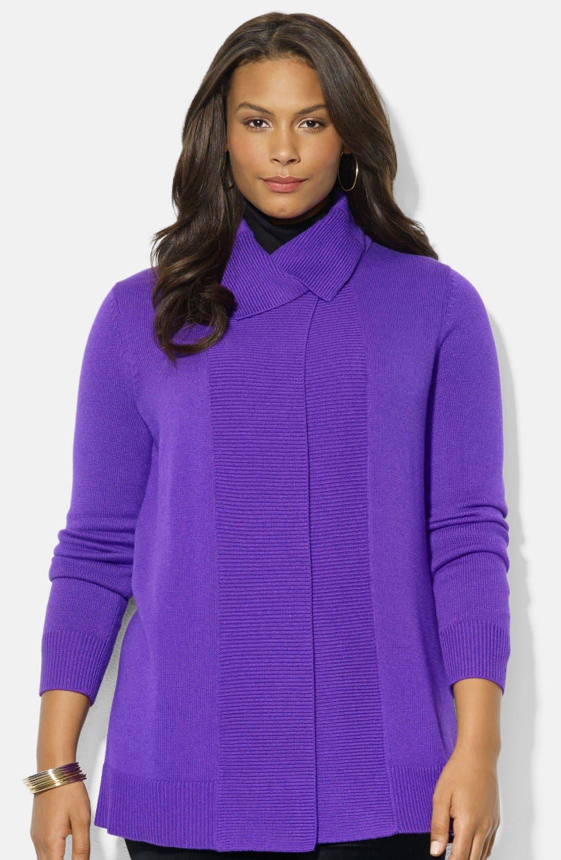 Alternate Image 1 Selected - Lauren Ralph Lauren Splay Collar Cardigan (Plus Size)