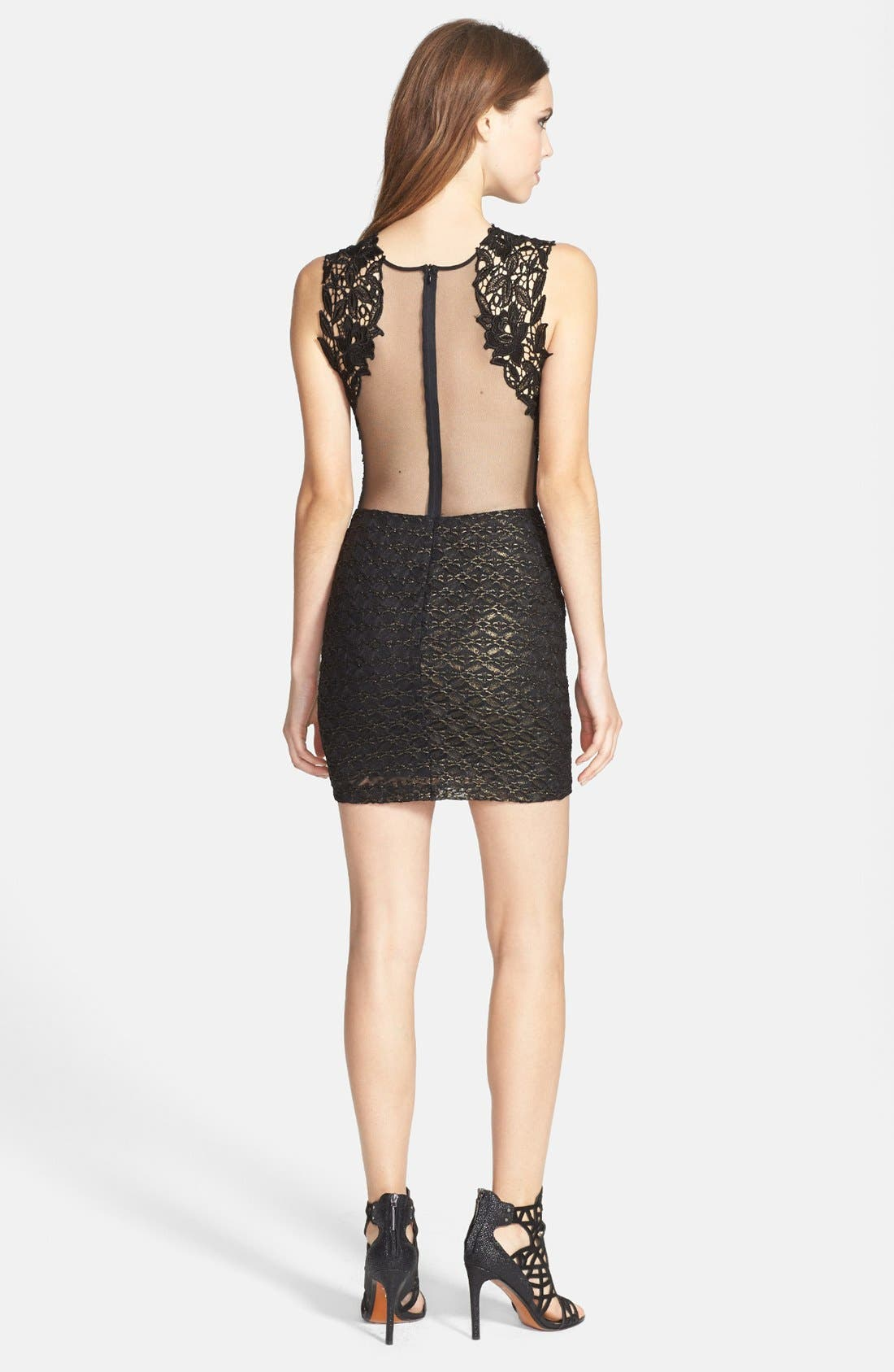 Alternate Image 2  - Dress the Population 'Lauren' Lace Detail Foiled Body-Con Dress