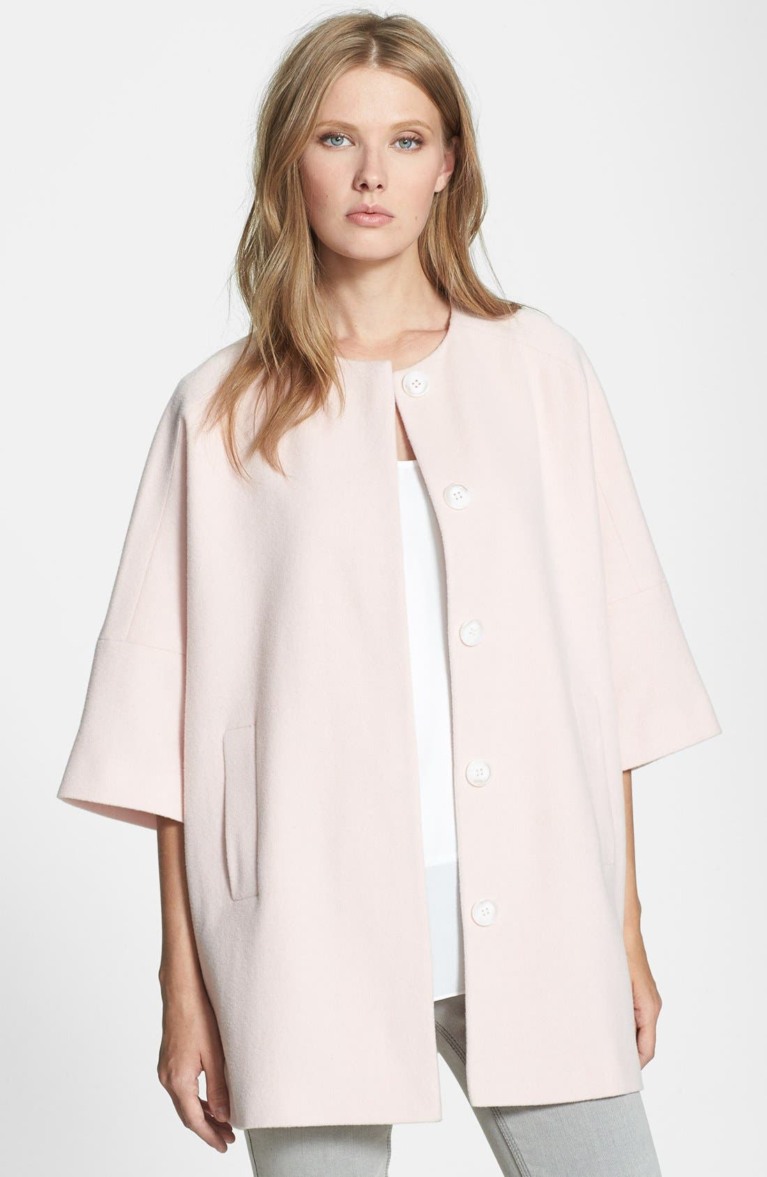 Main Image - Helene Berman Collarless Wool Blend Coat