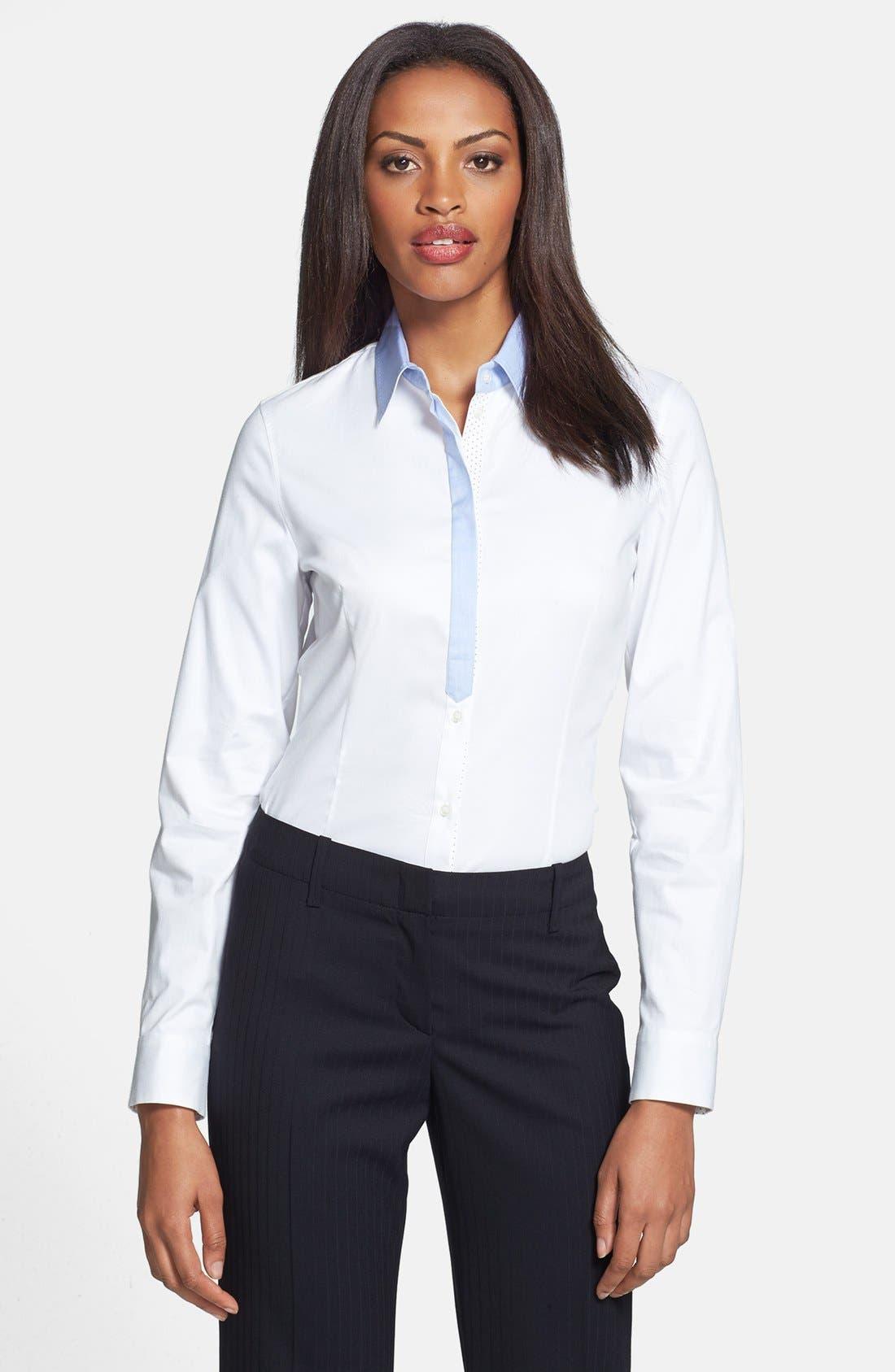 Main Image - BOSS HUGO BOSS 'Riccarda' Contrast Trim Long Sleeve Shirt