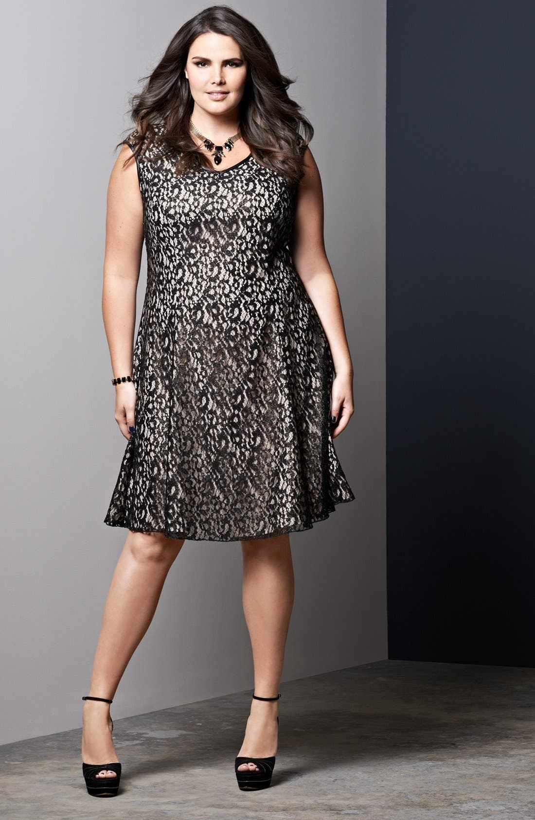 Alternate Image 4  - ABS by Allen Schwartz Foiled Lace Fit & Flare Dress (Plus Size)