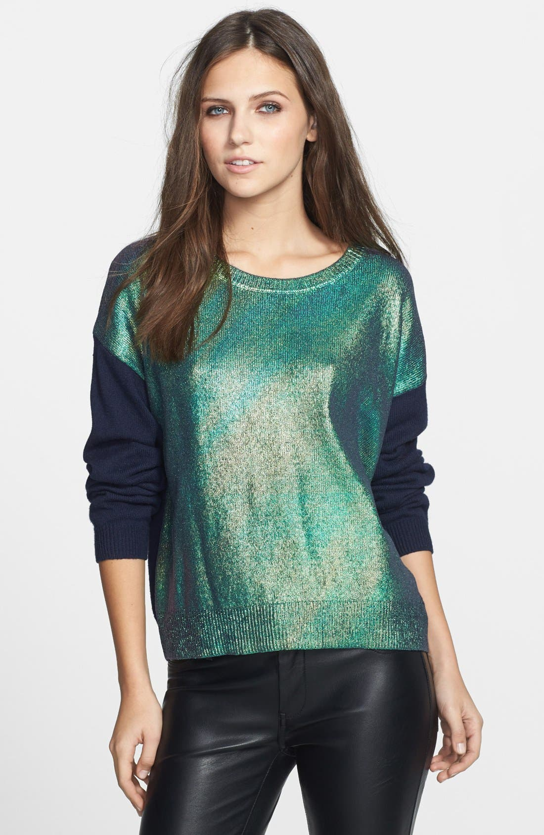 Alternate Image 1 Selected - Leith Metallic Front Pullover