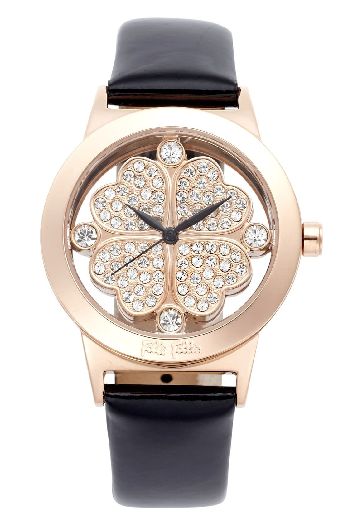 Alternate Image 1 Selected - Folli Follie 'Heart 4 Heart' Crystal Dial Leather Strap Watch, 36mm