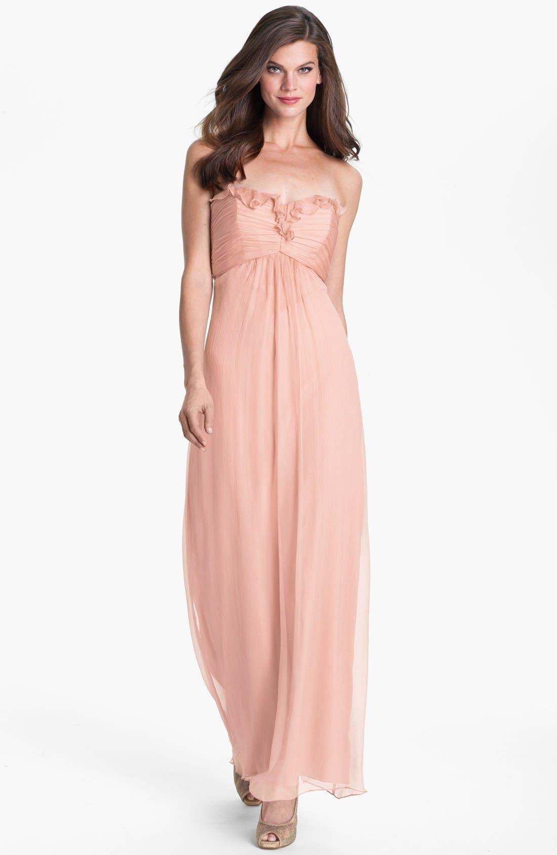 Main Image - Amsale Ruffle Trim Chiffon Halter Gown