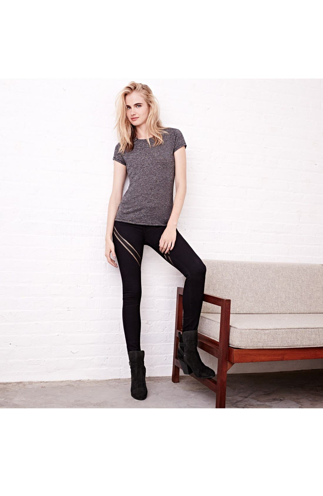 Alternate Image 4  - rag & bone/JEAN Ribbon Trim Skinny Jeans (Midnight)