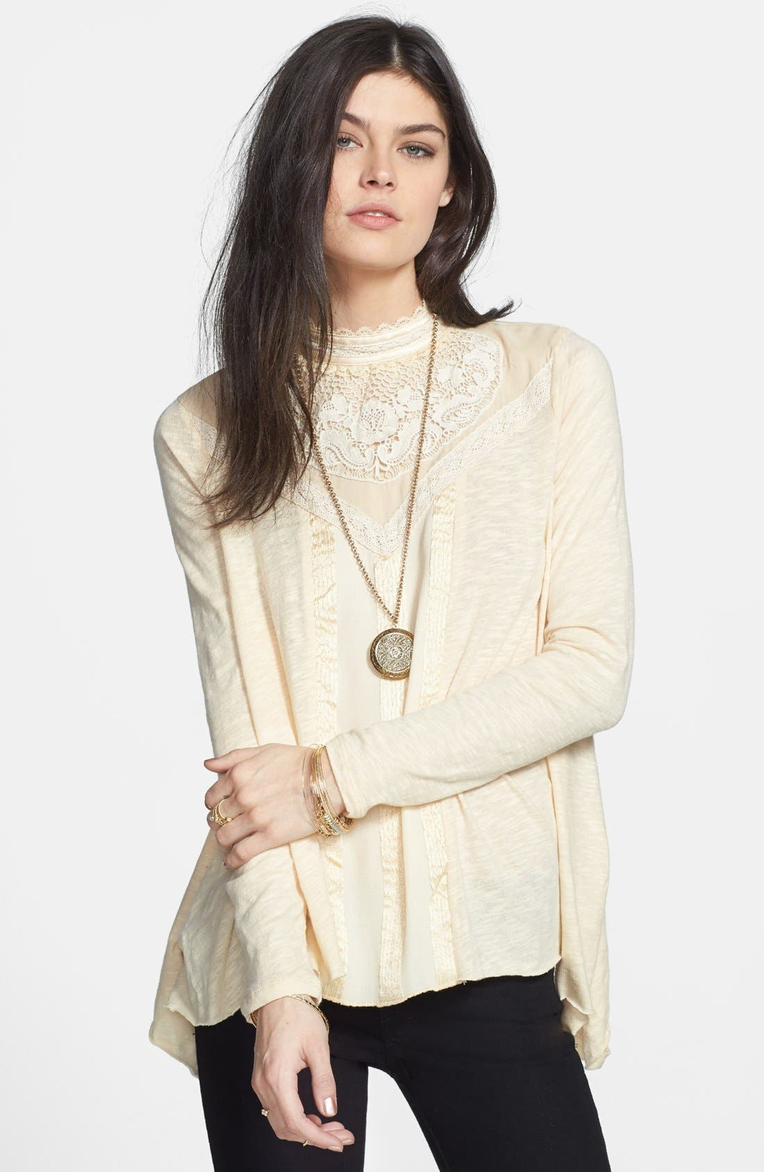 Main Image - Free People 'Gibson' Mixed Media Top