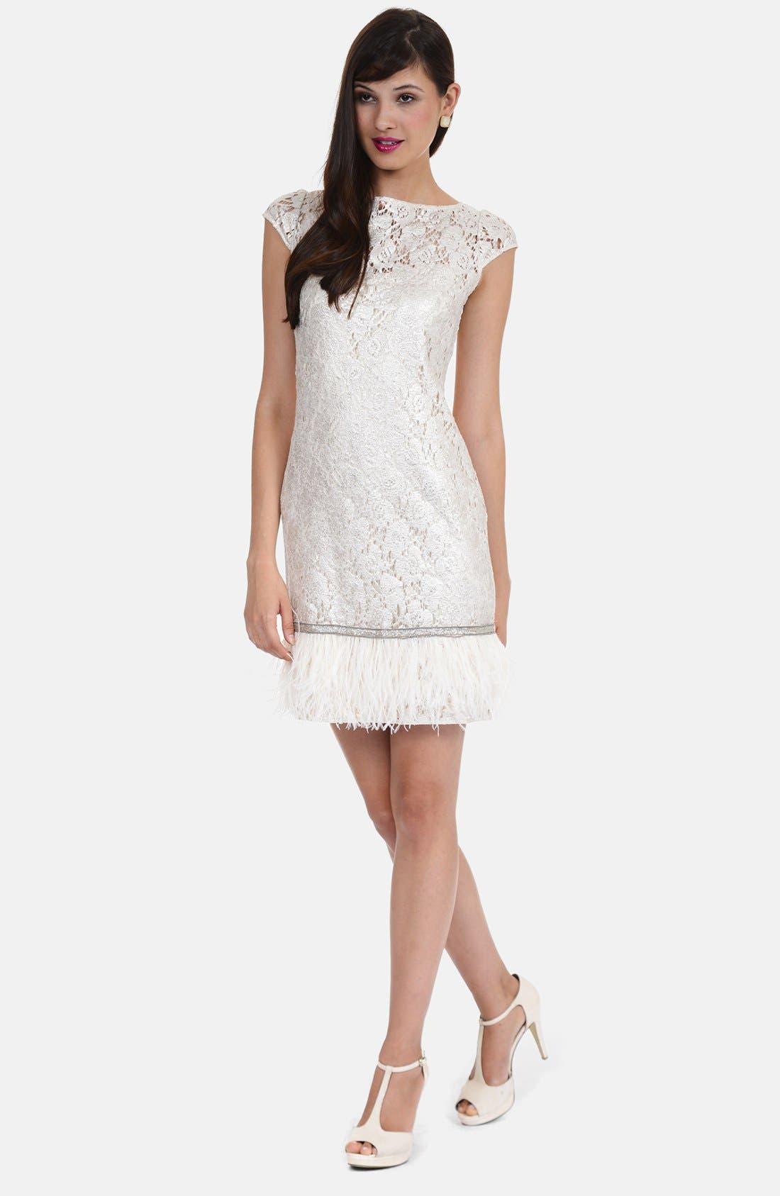 Main Image - Kay Unger Feather Hem Metallic Lace Sheath Dress (Plus Size)