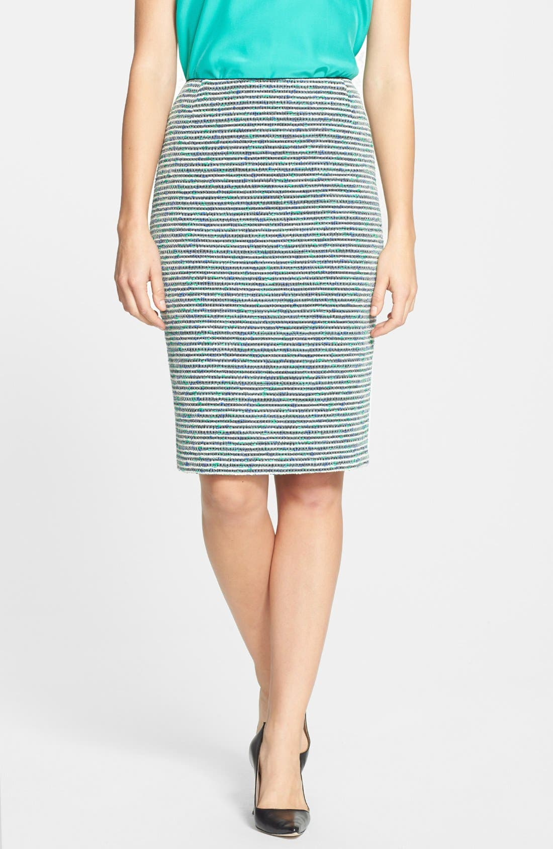Alternate Image 1 Selected - Lafayette 148 New York 'Revelin' Stripe Tweed Pencil Skirt