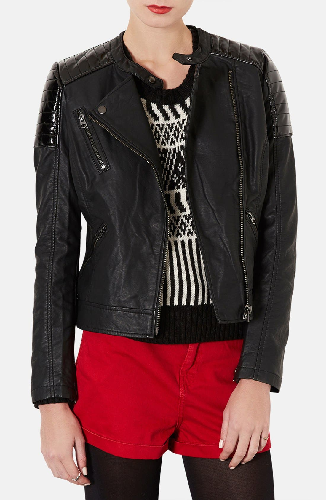 Alternate Image 1 Selected - 'Cherrie' Patent Panel Moto Jacket