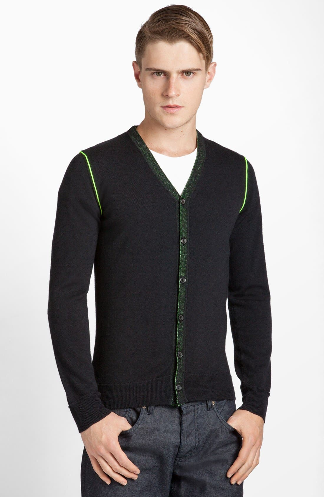 Alternate Image 1 Selected - Jil Sander Cashmere Cardigan with Neon Piping