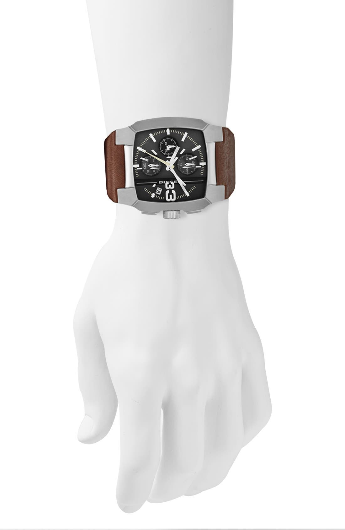 Alternate Image 2  - DIESEL® Square Leather Strap Watch, 47mm x 40mm