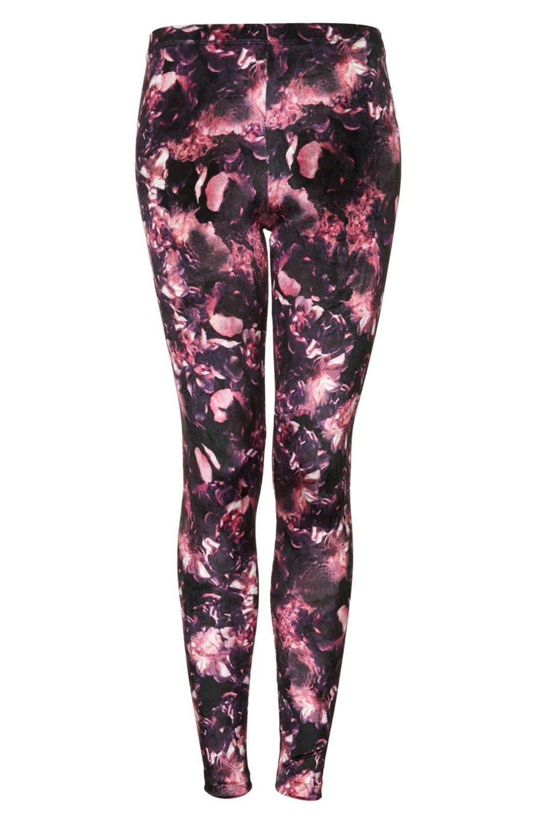 Alternate Image 3  - Topshop Floral Velvet Leggings