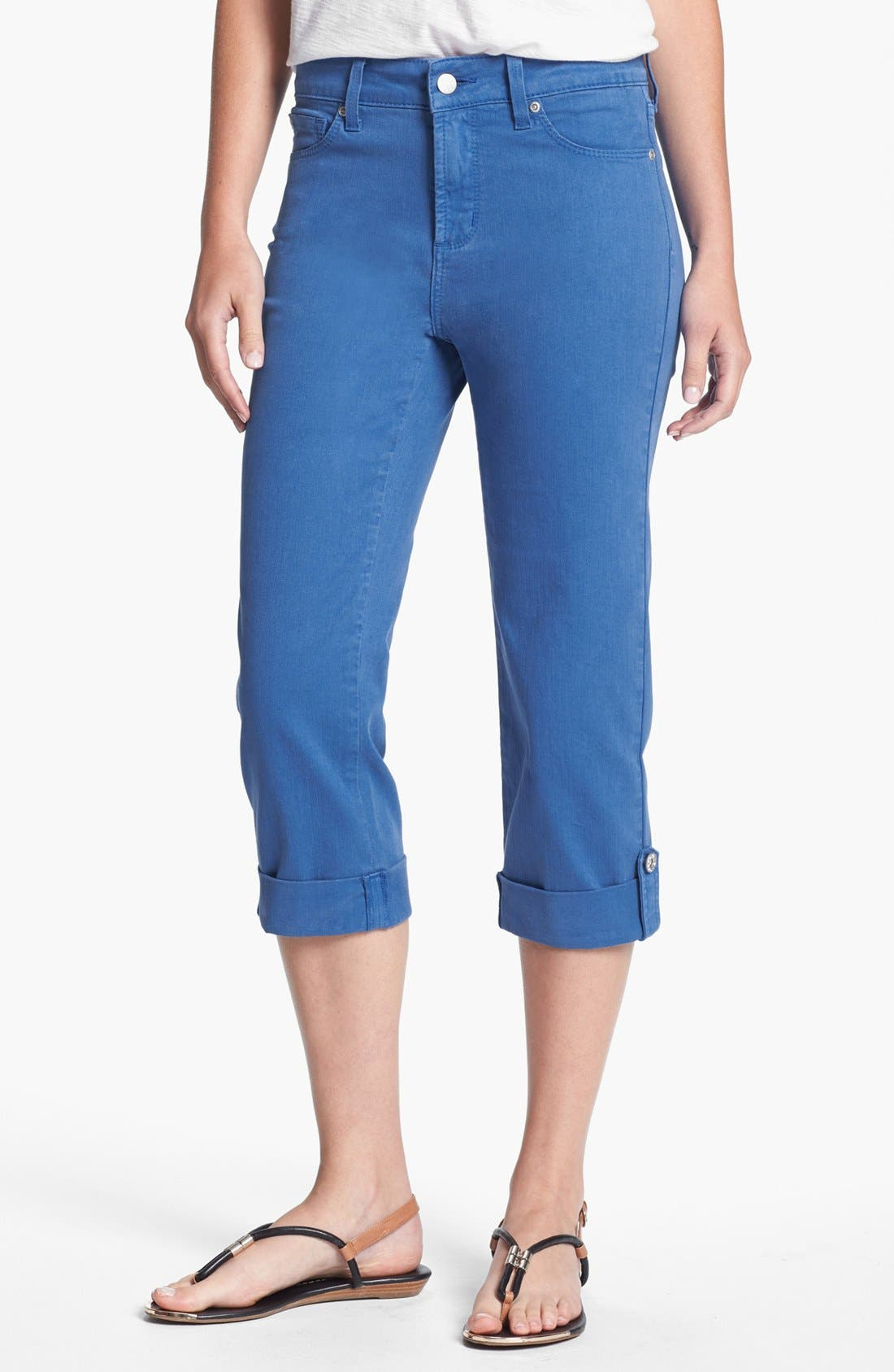 Main Image - NYDJ 'Lyris' Colored Roll-Tab Stretch Crop Jeans