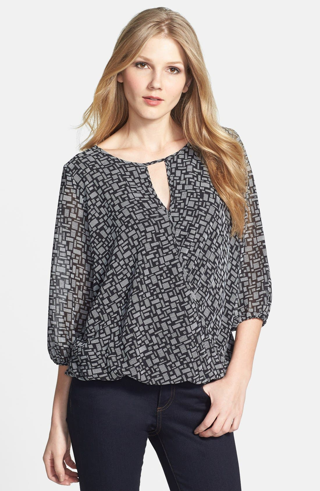 Alternate Image 1 Selected - Vince Camuto 'Blurred Touches' Faux Wrap Blouse