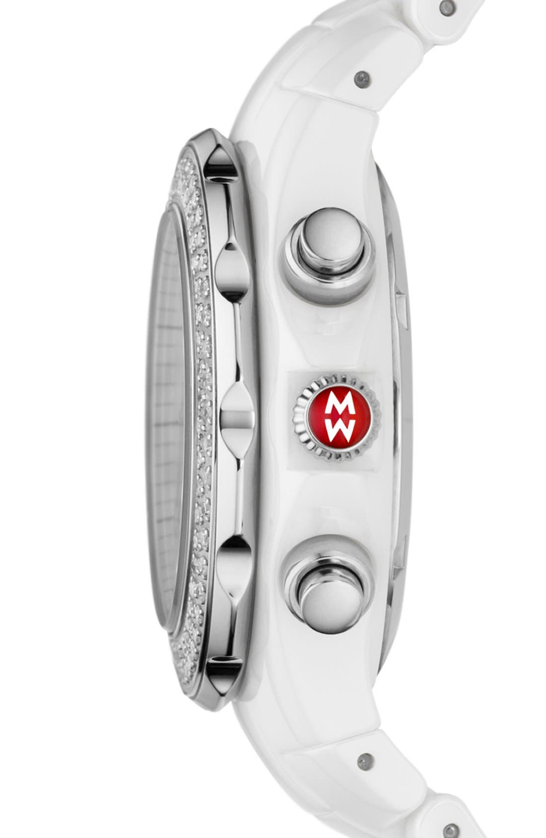 Alternate Image 3  - MICHELE 'Tahitian Diamond' Ceramic Bracelet Watch, 35mm
