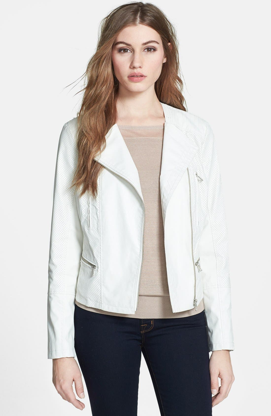Main Image - Bernardo Asymmetrical Perforated Faux Leather Jacket (Online Only) (Regular & Petite)
