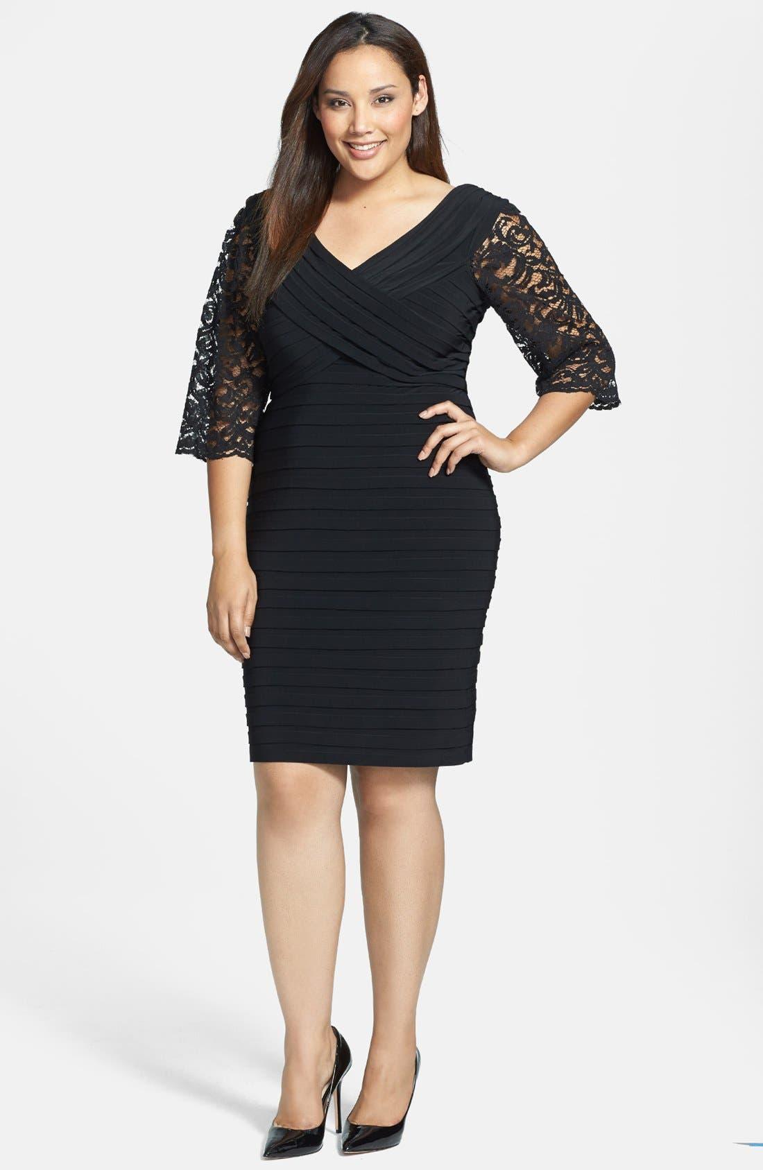 Main Image - Xscape Lace Sleeve Shutter Pleat Sheath Dress (Plus Size)