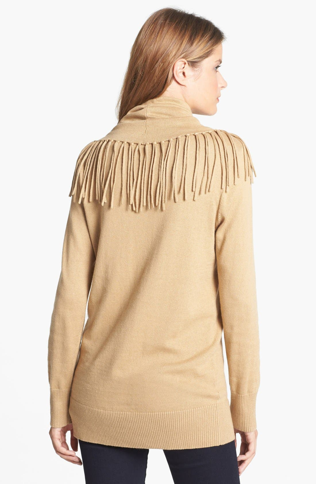 Alternate Image 2  - MICHAEL Michael Kors Fringed Cowl Neck Sweater (Petite)