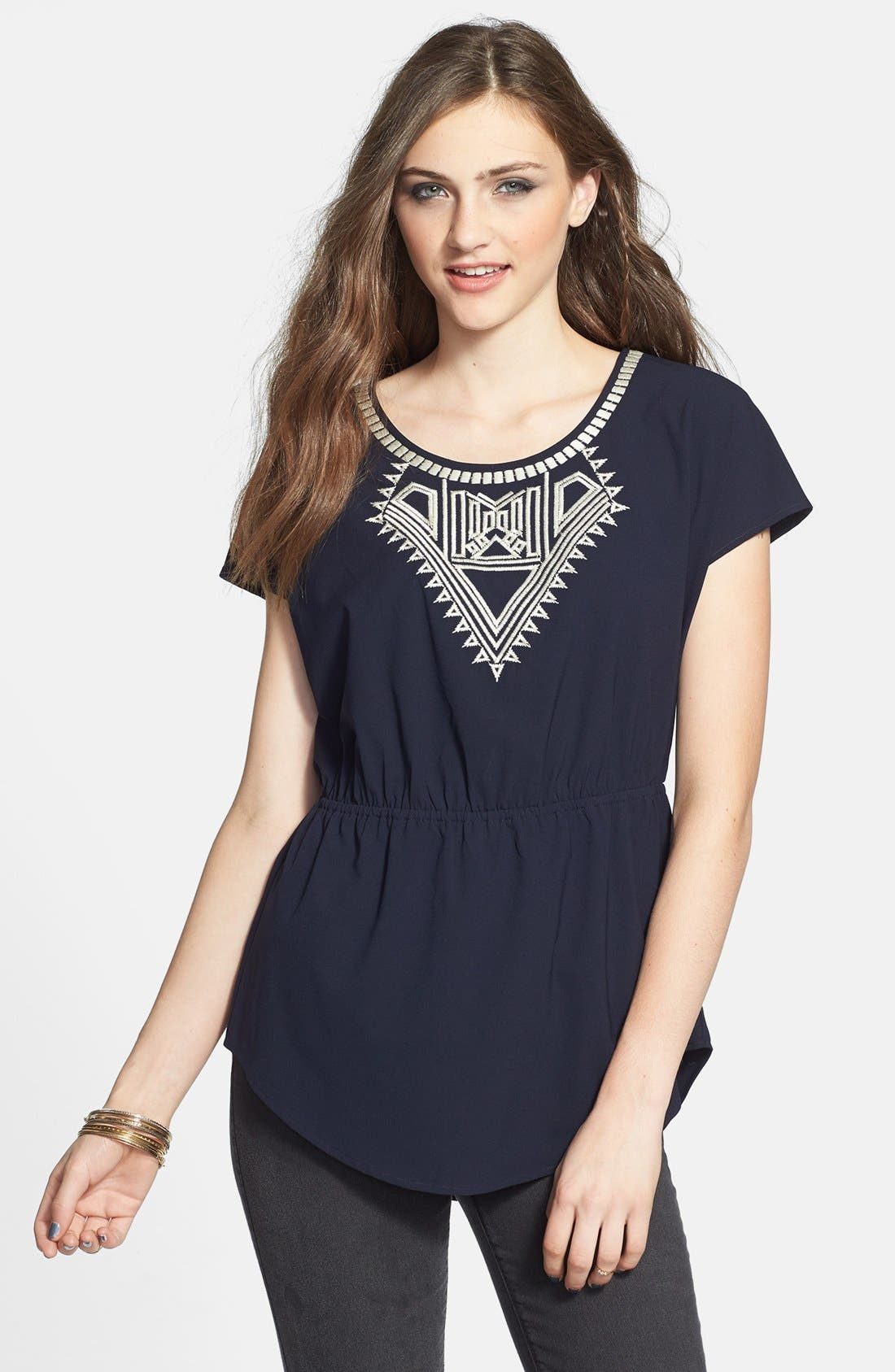 Alternate Image 1 Selected - C. Luce Embroidered Peasant Top (Juniors)